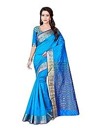 Shonaya Women`S Designer Cotton Silk Printed Saree with Unstitched Blouse Piece