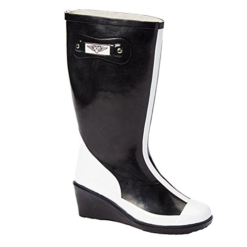 Rain and Women's White Young Boots Rubber Black Mod Black Forever Tall R8xFqIn