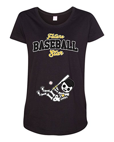(Future Baseball Star Pittsburgh Baby Fan Sports Ball Maternity DT T-Shirt Tee (XX-Large, Black))
