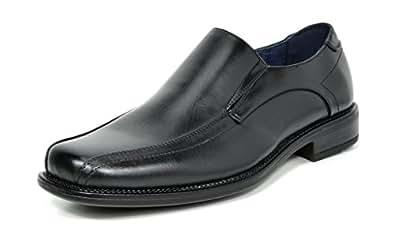 Bruno MARC STATE-01 Men's Formal Loafers Stretch Oxfords Slip On Leather Lining Square Tip Modern Dress Shoes BLACK SIZE 6.5