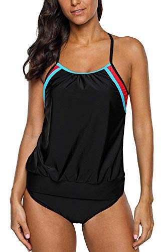 CharmLeaks Women Double Up Tankini Boyshort Splice Two Piece Swimsuits Black XXL