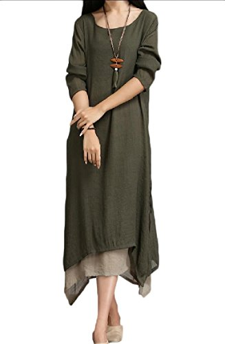 Layer Coolred Women line Coffee Oversized Folk Dress Linen Maxi Double Style A qUwE7wC