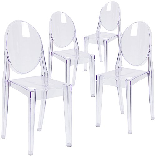 Flash Furniture 4 Pk. Ghost Side Chair in Transparent - Victoria Ghost