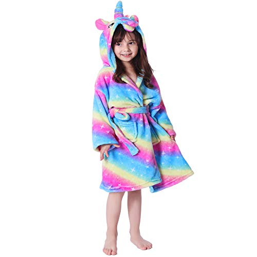 RGTOPONE Kids Soft Bathrobe Unicorn Fleece Sleepwear Comfortable Loungewear (2 Years, Rainbow and Starry Sleepwear) ()