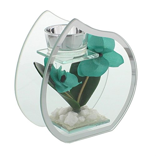 Mirror Small Teardrop (Hestia Glass & Mirror Tea Light Holder Aqua Tear Drop Small)