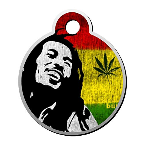 BSARRE Custom ID Pet Tag Double Sided Stainless Steel Necklaces Dog Tag Round Jamaica-Bob Mar-Ley (Weed Sonnenbrille)