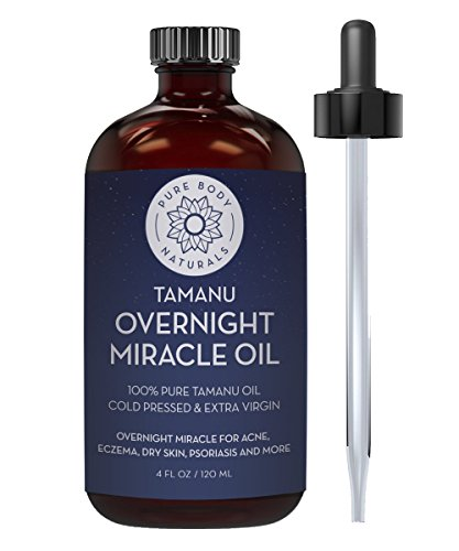 Cold Pressed Tamanu Oil for Psoriasis, Eczema, Acne Scar, Foot Fungus, Rosacea - Relief for Dry, Scaly Skin, Blisters with Bonus Info + Recipe Guide by Pure Body Naturals, 4 Fl. Ounce (Label Varies) ()