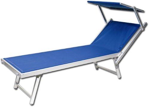 Sdraio Da Spiaggia Prezzi.Lettino Da Spiaggia Regolabile Sdraio Prendisole In Alluminio Blu