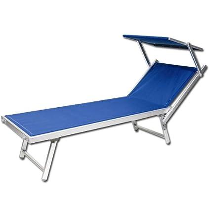 Lettini Da Spiaggia Alluminio.Lettino Da Spiaggia Regolabile Sdraio Prendisole In Alluminio Blu