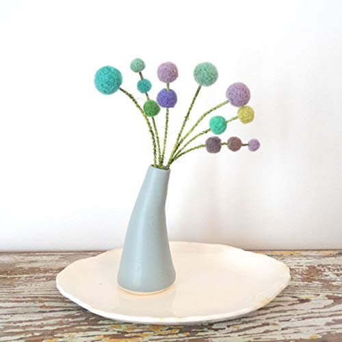 (Mermaid Pom pom flowers - Soft Blue, Purple flowers - Wool felt balls - Turquoise pom poms - Yarn vase filler - Fake Flowers Needle Felt)