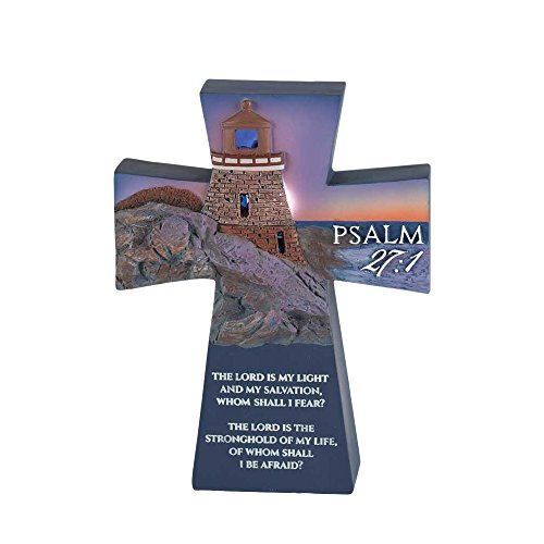 The Lord Is My Light Lighthouse Cross 3 x 5 Resin Stone Tabletop Figurine
