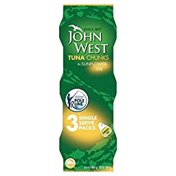 John West Pole & Line Tuna Chunks in Sunflower Oil (3x80g) - Pack of 2