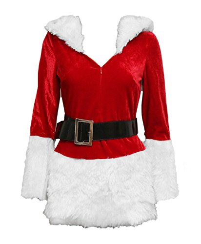 Bslingerie Christmas Santa Girl Women Mrs. Claus Costume Outfit (L, White) -
