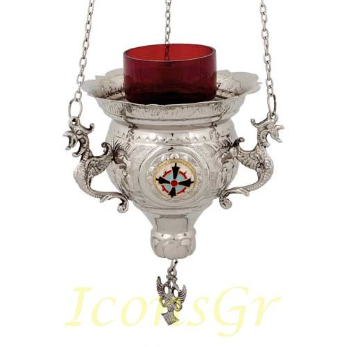 Orthodox Greek Christian Bronze Hanging Votive Vigil Oil Lamp with Chain and Red Glass - 231n