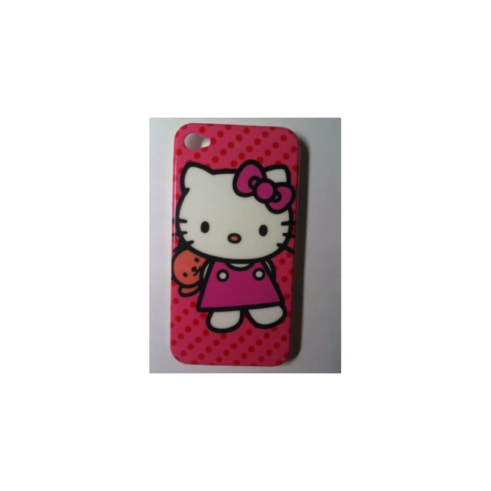 Hot Pink Kitty Dot Designer Snap Slim Hard Protector Case Back Cover for iPhone 4G