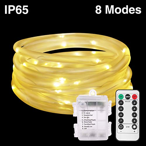 HONGM 120LED 41ft Rope String Lights Battery Operated String Lights 8 Modes Waterproof Firefly Lights with Remote Timer for Outdoor, Indoor, Garden, Party, Christmas Tree, Wedding (Warm White)