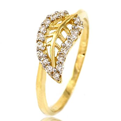 leaf gold rings diamond natural media engagement leaves ring floral
