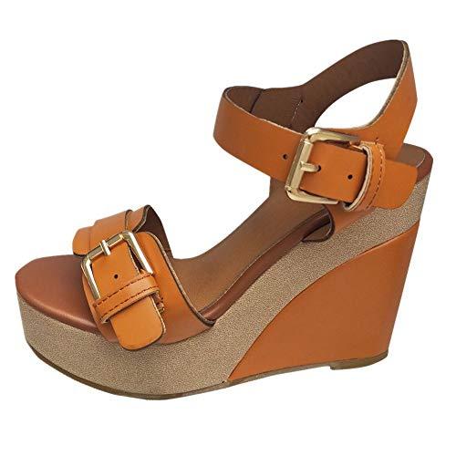 Women's Wedge Sandals Summer Buckle Strap Open Toe Platform High Heels Ankle Strap Pumps Shoes (Brown -3, US:7.5) ()