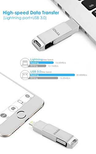 iDiskk iPhone Flash Drive 256GB ipad External Storage Photo Stick for iPhone X XR XS Max and New ipad pro pc MacBook Jump Drive with Touch id encryption (2 Years Warranty) by iDiskk (Image #3)