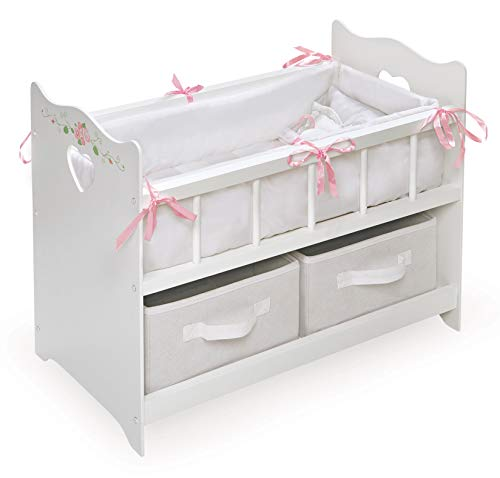 - White Rose Doll Crib with Bedding, 2 Baskets, and Free Personalization Kit (fits American Girl Dolls)