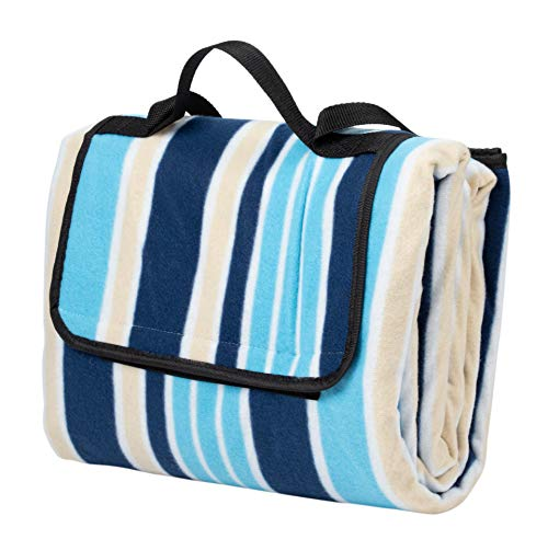 Deluxe Picnic Blanket - Juvale Extra Large Picnic Blanket, Outdoor Beach Mat with Waterproof Backing for Traveling and Camping, Folds into Easy Carry Tote Bag, 77 x 58 Inches