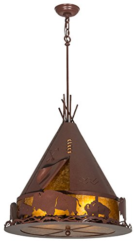 Meyda Tiffany 50109 Teepee With Buffalo Pendant, 24