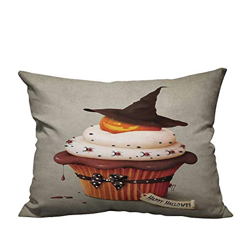 YouXianHome Throw Pillow Cover for Sofa Halloween Cake,Holiday Greeting Card. Textile Crafts (Double-Sided Printing) 13x17.5 -