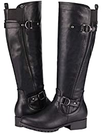 Women's Knee High Boots - Riding Boots Low Heel Side...
