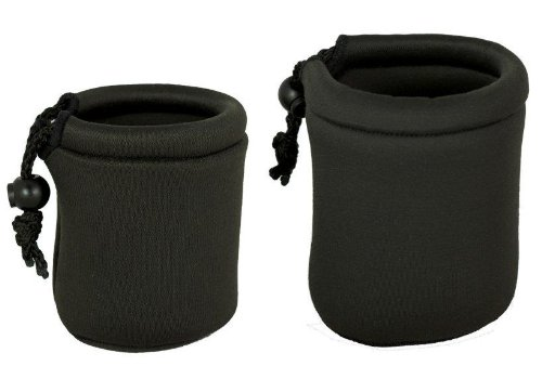 (2 Pack Micro Lens Pouch for Leica, Micro Four Thirds, Fuji X-Pro 1, Sony NEX, Pentax Q, Nikon 1 Lenses - Small,)
