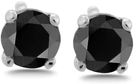 1/2 - 10 ct tw Black Diamond Stud Earrings Round Brilliant Solid 14K Gold Setting