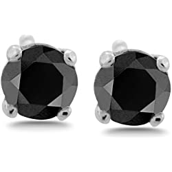 1/2 - 10 ct tw Black Diamond Stud Earrings Round Brilliant Solid 14K Gold Setting