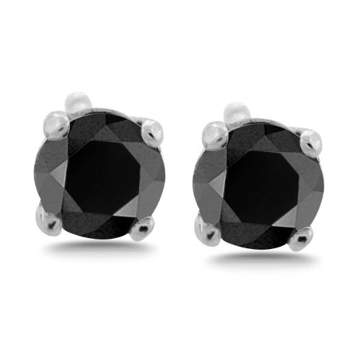 1/2 10 ct tw Black Diamond Stud Earrings Round Brilliant Solid 14K Gold Setting