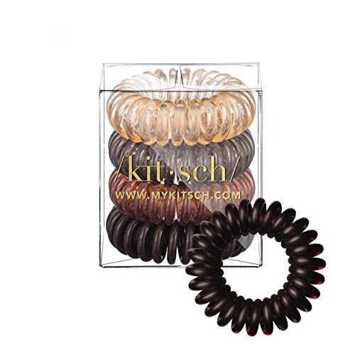 Kitsch Spiral Hair Ties, Coil Hair Ties, Phone Cord Hair Ties, Hair Coils - 4 Pcs, Brunette