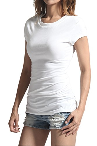 Juniors White Tee T-shirt - TheMogan Women's Basic Crew Neck Short Sleeve T-Shirts Cotton Tee White S