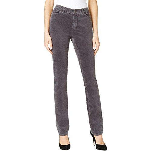 (Charter Club Womens Petites Lexington Corduroy Straight Leg Pants Gray 4P)