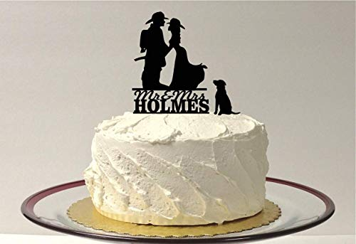 - *MADE IN USA* Personalized Fireman and Firefighter Bride with Dog - Choice of 48 Different Dog Silhouettes, Labrador, Bulldog, Pug, Chihuahua, Collie, Golden Retriever, Shih TZU, Great Dane,