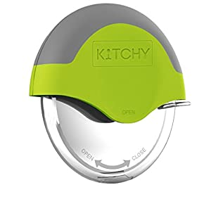 Kitchy Pizza Cutter Wheel – Super Sharp and Easy To Clean Slicer, Kitchen Gadget with Protective Blade Guard (Green)