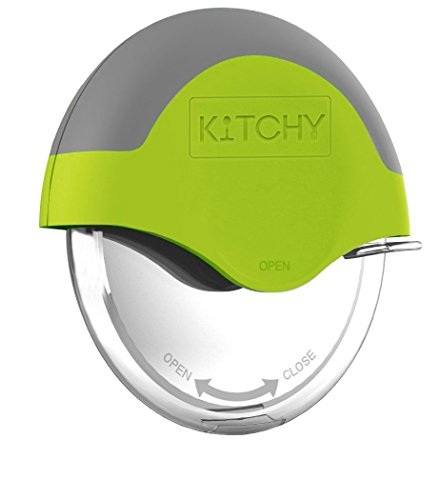 (Kitchy Pizza Cutter Wheel - Super Sharp and Easy To Clean Slicer, Kitchen Gadget with Protective Blade Guard (Green))