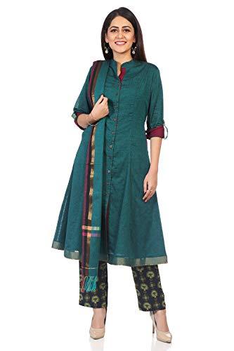- BIBA Women's Green Cotton Salwar Kameez Dupatta Size 32