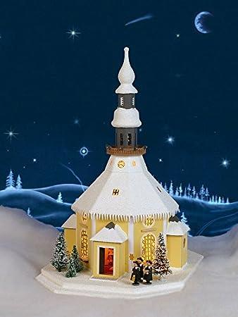 Lichterhaus Seiffener Kirche Mit Kurrende Weiss Gold Elektrisch