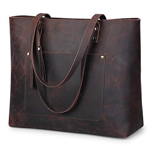 S-ZONE Vintage Genuine Crazy Horse Leather Shoulder Bag Handbag Purse with Tassels Upgraded 2.0 Version(Dark Brown)