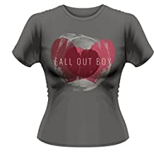 Fall Out Boy Women's Weathered Heart FOB T-shirt Grey