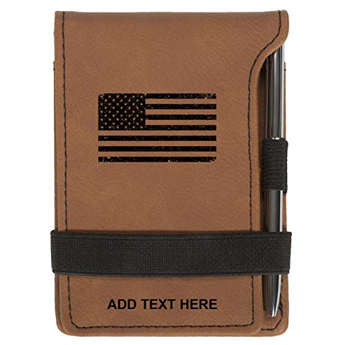Personalized Mini Notepad Holder Set - Pocket Memo Pad Jotter Notebook Case - Includes Mini Note Pad & Pen to Jot Notes and Writing To Do List - US Flag Grunge, Rawhide
