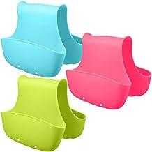 3 Pack Saddle Silicone Sink Caddy, Aifuda Sponge Soap Scrubbers Holder Brush Basket Organizer Storage for Kitchen (Blue, Green, Pink)