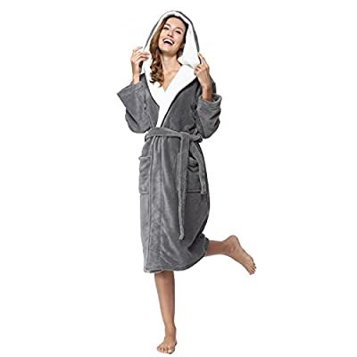 COSMOZ Bathrobe Drowsy Cloud Soft Spa Kimono White Shawl Collar Hood Hat Long Robe unisex women