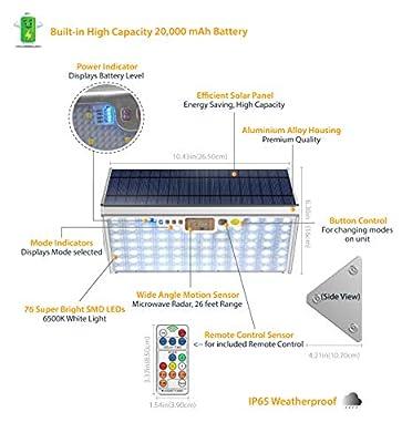 SLARR Premium Aluminum Solar Lights Outdoor Security Flood Light with Motion Sensor, 20000 mAh Battery, 76 LED 1700 Lumen White Light, Remote Control, 6 Modes, Easy Install (Fixed or Portable)