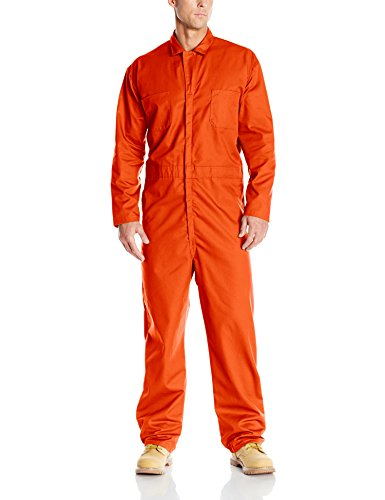 (Red Kap Men's Long Sleeve Twill Action Back Coverall, Orange)