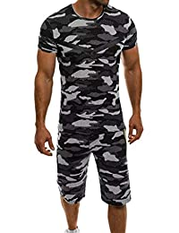 5d259c173f3a5 Running Jogging Athletic Sports Set,NEWONESUN Summer Casual Slim Fit Short  Sleeve Camo Tracksuit Sweatpants · NEWONESUN Clearance Sale