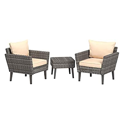 AmazonBasics 3 Piece Patio PE Rattan Wicker Conversation set - 3-piece outdoor furniture set includes 2 matching chairs and a square-shaped side table Ideal for a porch, patio, or back deck; creates a welcoming place to gather with a friend Made of durable steel and polyethylene (PE) rattan for reliable strength and an attractive wicker-like appearance - patio-furniture, patio, conversation-sets - 41ZLfAz7lwL. SS400  -