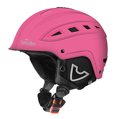 Pink Snowboard Helmet - TurboSke Ski Helmet, Snow Sports Helmet, Snowboard Helmet Men Women Youth (Pink, M (21